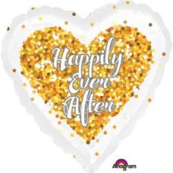 """Balon foliowy """"Happy Ever After"""" - serce- konfetti"""