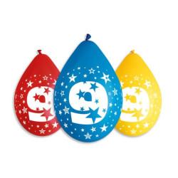 """balony, balony na hel, dekoracje balonowe, balony Łódź, balony z nadrukiem, Balony 12"""" z nadr. """"9"""", pastel mix / 5 szt."""