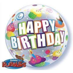 """balony, balony na hel, dekoracje balonowe, balony Łódź, balony z nadrukiem, Balon, foliowy 22"""" QL Bubble Poj. """"Happy Birthday"""""""