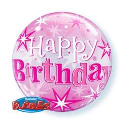 """balony, balony na hel, dekoracje balonowe, balony Łódź, balony z nadrukiem, Balon foliowy22"""" QL Bubble Poj.HB gwiazdki różowy"""