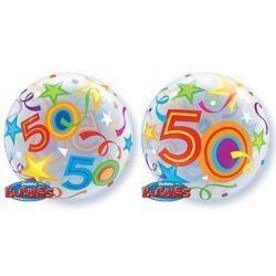 """balony, balony na hel, dekoracje balonowe, balony Łódź, balony z nadrukiem, Balon, foliowy 22"""" QL Bubble Poj. """"50 Urodziny"""""""