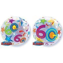"""balony, balony na hel, dekoracje balonowe, balony Łódź, balony z nadrukiem, Balon, foliowy 22"""" QL Bubble Poj. """"60 Urodziny"""""""