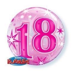 """balony, balony na hel, dekoracje balonowe, balony Łódź, balony z nadrukiem, Balon, foliowy 22"""" QL Bubble Poj.""""18 Urodziny"""" róż"""