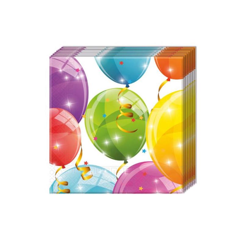 """balony, balony na hel, dekoracje balonowe, balony Łódź, balony z nadrukiem Serwetki """"Sparkling Balloons"""", 33x33 cm, 20 szt."""