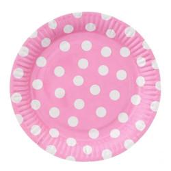 """Talerzyki papierowe""""Groszki(różowe)"""" 23 cm"""