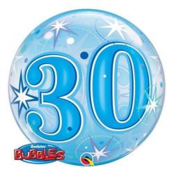 """balony, balony na hel, dekoracje balonowe, balony Łódź, balony z nadrukiem, Balon foliowy 22"""" QL Bubble Poj. """"30 gwiazdki nieb"""