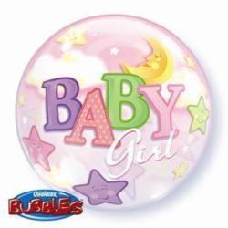 """balony, balony na hel, dekoracje balonowe, balony Łódź, balony z nadrukiem, Balon, foliowy 22"""" QL Bubble Poj. """"Baby Girl-Księż"""