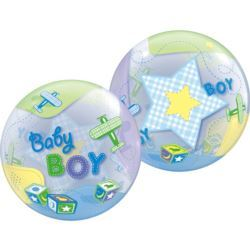 """balony, balony na hel, dekoracje balonowe, balony Łódź, balony z nadrukiem, Balon, foliowy 22"""" QL Bubble Poj.""""Baby Boy-Samolot"""