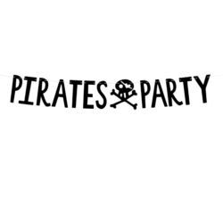 Baner Piraci - Pirates Party, czarny, 14x100cm