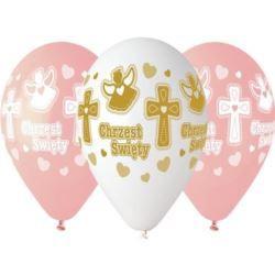 """balony, balony na hel, dekoracje balonowe, balony Łódź, balony z nadrukiem, Balony Premium Chrzest Dziewczyni, 13 """", 5 szt."""