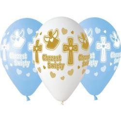 """balony, balony na hel, dekoracje balonowe, balony Łódź, balony z nadrukiem, Balony Premium Chrzest Chłopca , 13 """", 5 szt."""