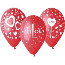 """balony, balony na hel, dekoracje balonowe, balony Łódź, balony z nadrukiem, Balony premium """"Love"""", 12"""" / 5 szt."""