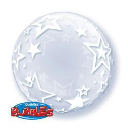 balony, balony na hel, dekoracje balonowe, balony Łódź, balony z nadrukiem, Qualatex Balon Foliowy 24 Ql Bubble Deco Gwiazdy