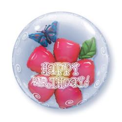 """balony, balony na hel, dekoracje balonowe, balony Łódź, balony z nadrukiem, Balon foliowy 24"""" QL Bubble Pod. """"Kwiatek w baloni"""