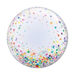 """balony, balony na hel, dekoracje balonowe, balony Łódź, balony z nadrukiem, Balon foliowy 24"""" QL Deco Bubble, kolorowe grochy"""
