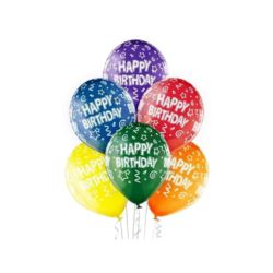 "Balony 12"" Happy Birthday 6 szt."