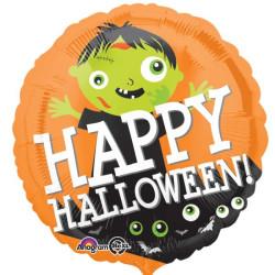 """balony, balony na hel, dekoracje balonowe, balony Łódź, balony z nadrukiem, Standard """"Happy Halloween Zombi"""" balon foliowy okr"""