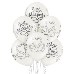 """balony, balony na hel, dekoracje balonowe, balony Łódź, balony z nadrukiem, Balony 12"""" Just married"""