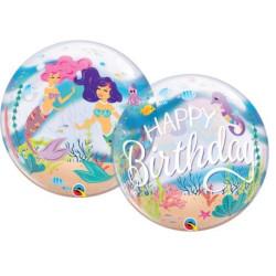 """balony, balony na hel, dekoracje balonowe, balony Łódź, balony z nadrukiem, Balon foliowy 22"""" QL Bubble Poj. """"Mermaid Birthday"""