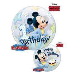 """balony, balony na hel, dekoracje balonowe, balony Łódź, balony z nadrukiem, Balon, foliowy 22"""" QL Bubble Poj. Mickey Mouse 1 U"""