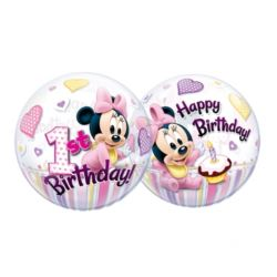 """balony, balony na hel, dekoracje balonowe, balony Łódź, balony z nadrukiem, Balon, foliowy 22"""" QL Bubble Poj. Minnie Mouse """"1"""""""