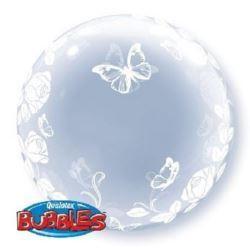 """balony, balony na hel, dekoracje balonowe, balony Łódź, balony z nadrukiem, Balon, foliowy 24"""" QL Bubble Deco """"Róże i motyle"""""""