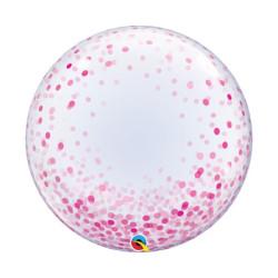 """balony, balony na hel, dekoracje balonowe, balony Łódź, balony z nadrukiem, Balon foliowy 24"""" QL Deco Bubble, różowe grochy"""