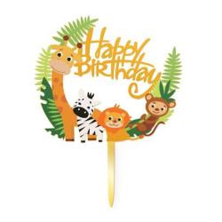 Topper Happy Birthday zwierzątka zoo