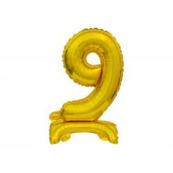 Balon foliowy B&C Cyfra stojąca 9, złota, 38 cm